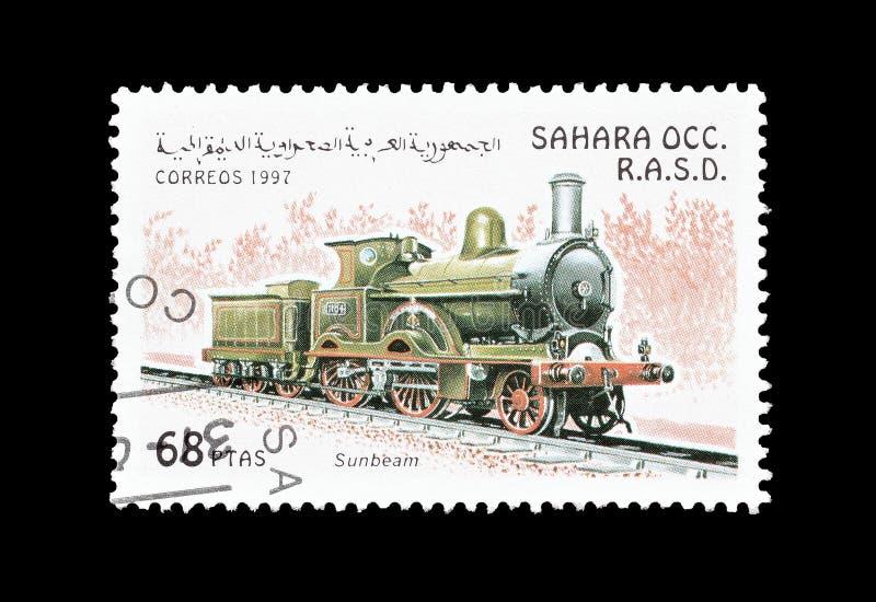 Wczesna lokomotywa na znaczku zdjęcia royalty free