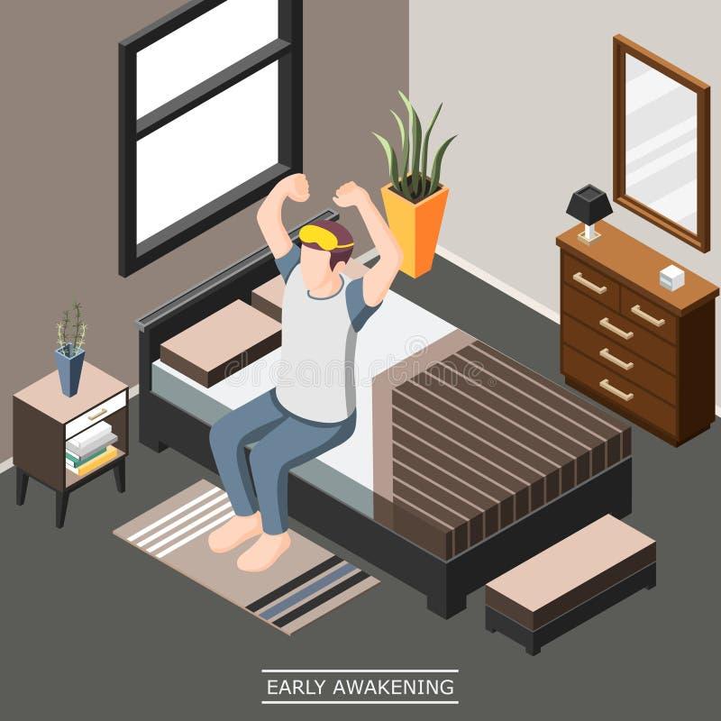 Wczesnego obudzenia Isometric tło royalty ilustracja