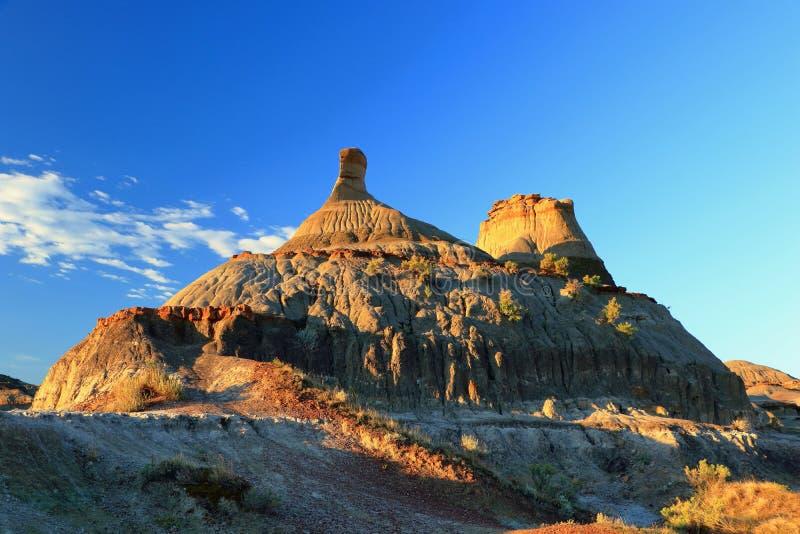 Wczesnego Poranku światło na Hoodoo w badlands, dinosaura prowincjonału park, Alberta zdjęcia royalty free