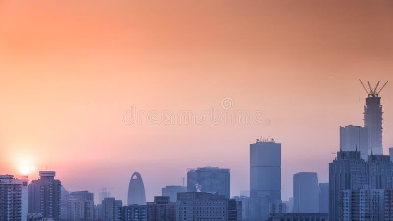 Wczesnego poranku pejzaż miejski Pekin obrazy royalty free