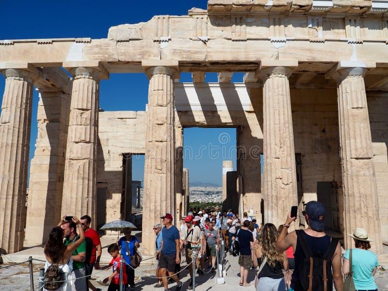 Wczesnego Poranku tłum goście Parthenon zdjęcie stock