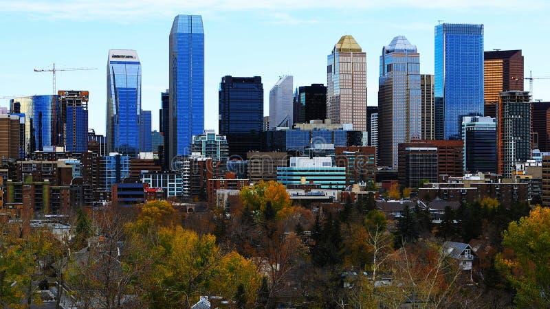 Wczesnego poranku widok Calgary, Kanada linia horyzontu obrazy stock