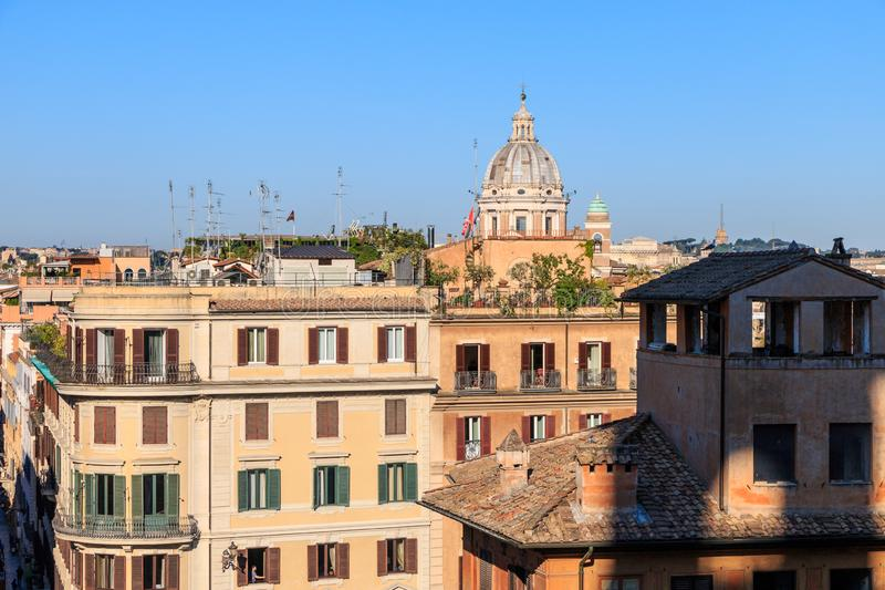 Wczesnego poranku widok Rzym od Hiszpańskich kroków obrazy royalty free