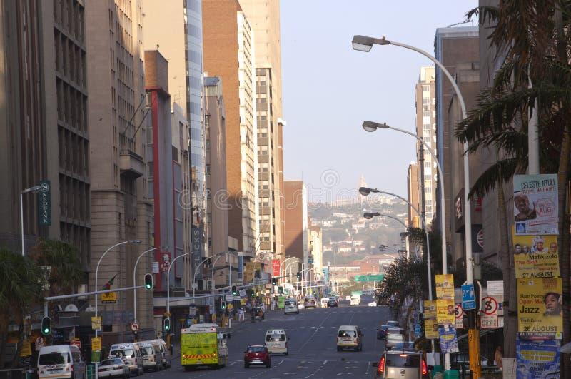 Wczesnego Poranku widok Smith ulica, Durban Południowa Afryka zdjęcia royalty free