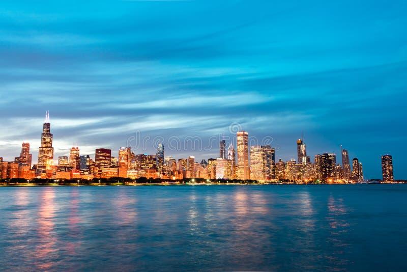 Wczesnego Wieczór Chicago linia horyzontu obraz royalty free