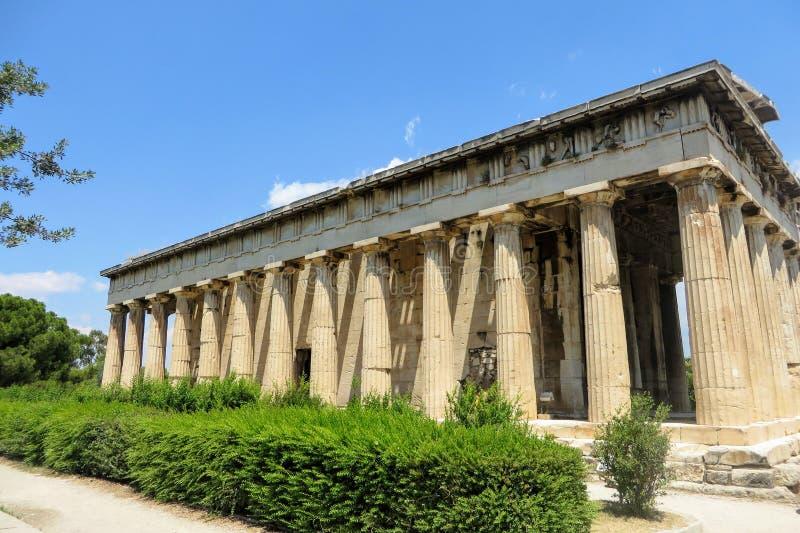 Wczesny jako Theseion lub jesteśmy konserwującym Greckim świątynią obraz royalty free
