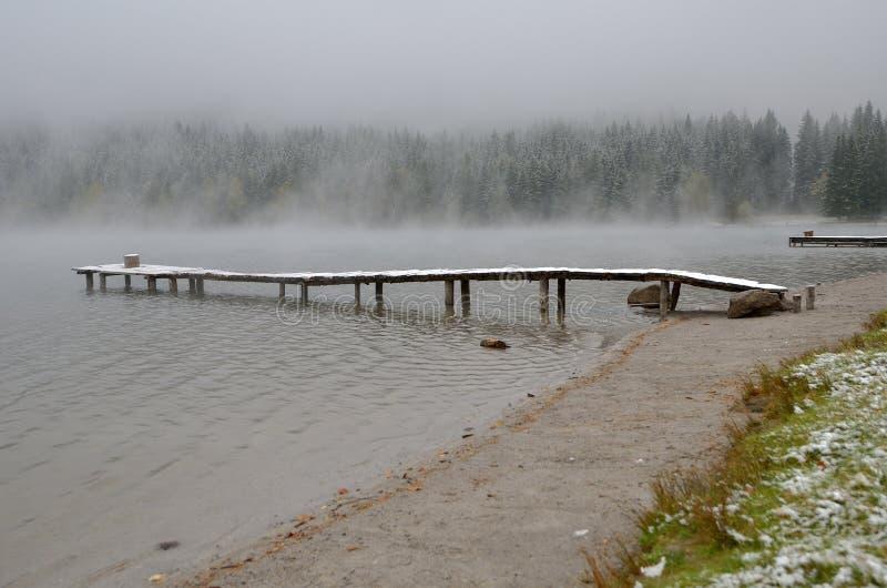 Wczesny poranek mgła na jeziorze fotografia royalty free