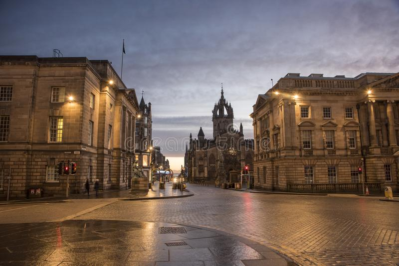 Wczesny poranek na bank ulicie, Edynburg obrazy royalty free