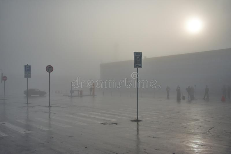 Wczesny poranek przy lotniskiem wymieniającym po Leonov zdjęcie royalty free