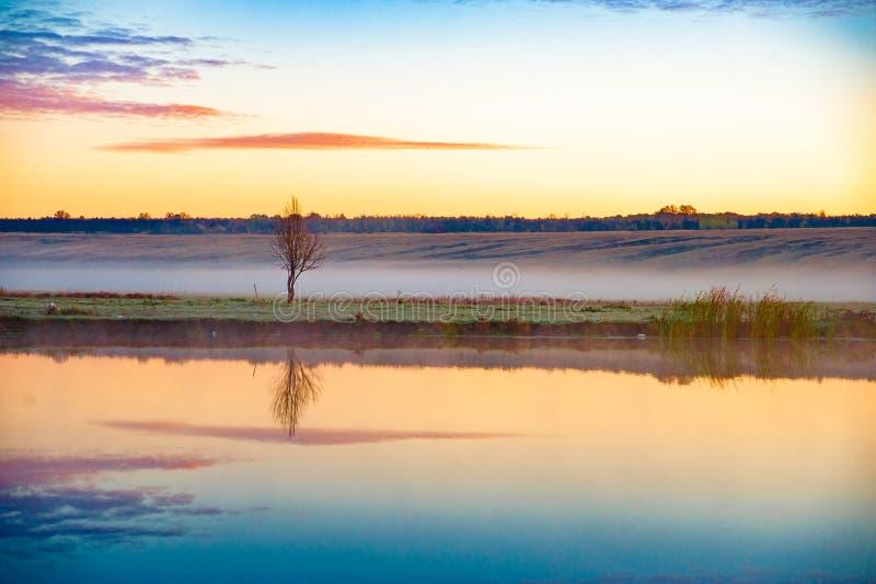 Wczesny poranek rzeki wschód słońca zdjęcia stock