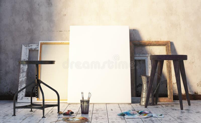 Wczesny poranek w artysty ` s studiu, wyśmiewa w górę wnętrza obraz stock