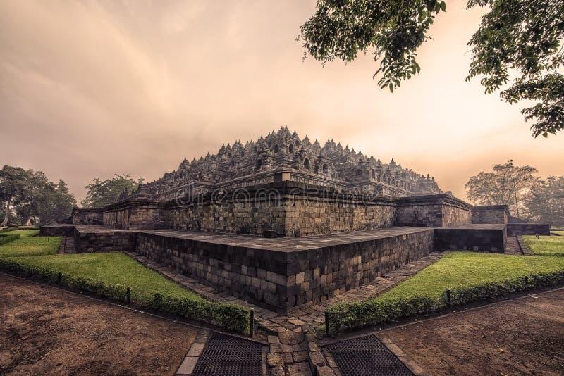 Wczesny poranek w Borobudur świątyni w Jawa zdjęcie stock