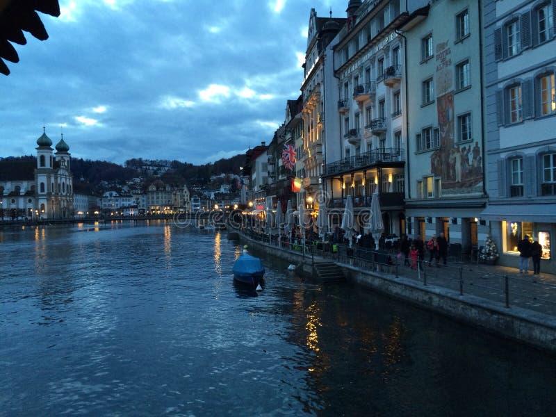 Wczesny wieczór w Lucerna fotografia royalty free