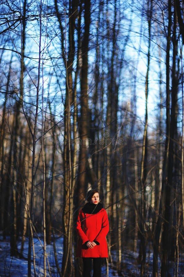 Wczesny wiosna portret śliczna atrakcyjna poważna młoda dziewczyna patrzeje z ciemnego włosy upału szalikiem, czerwieni kurtką i obraz stock