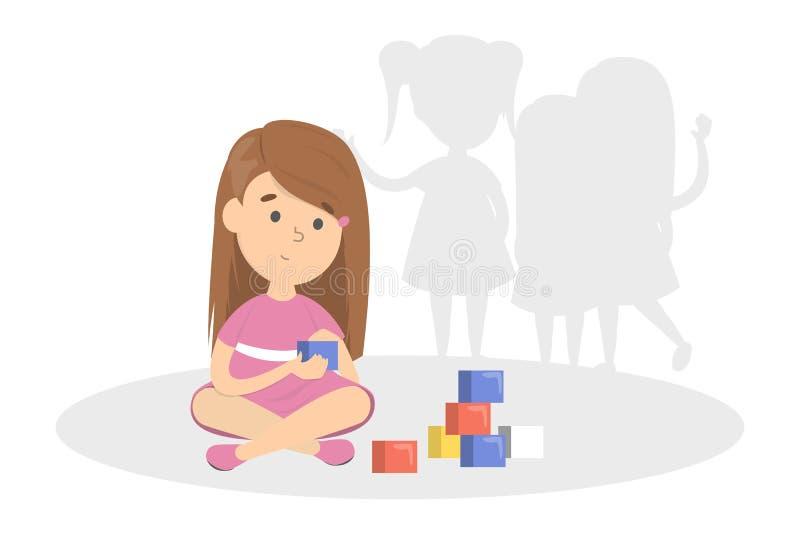 Wczesny znak autyzm Dzieci bawią się samotnie ilustracji