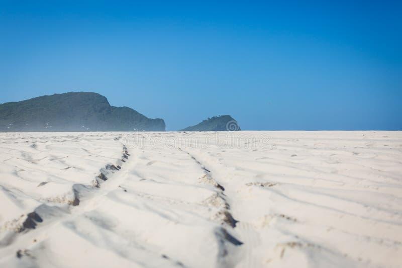 4wd διαδρομές ροδών στην παραλία στοκ εικόνες