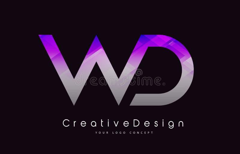 WD brief Logo Design Purper Textuur Creatief Pictogram Moderne Lette royalty-vrije illustratie