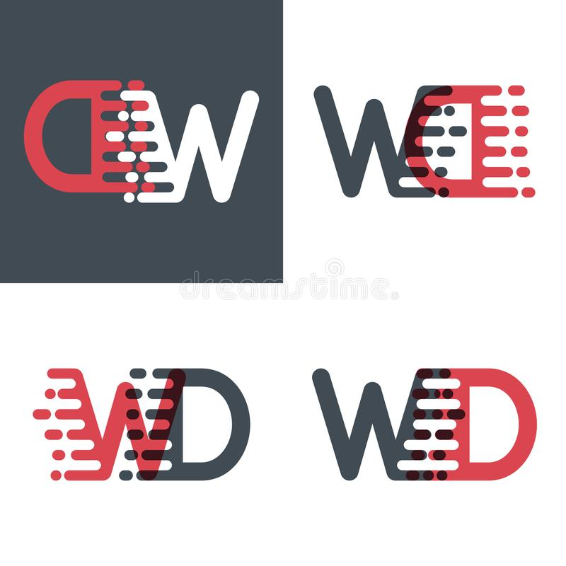WD marque avec des lettres le logo avec le rose de vitesse d'accent et gris-foncé illustration stock