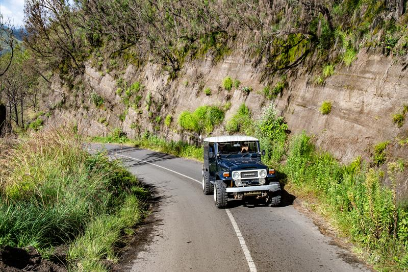 4WD Offload on Jeep in Mt. Bromo stock photo