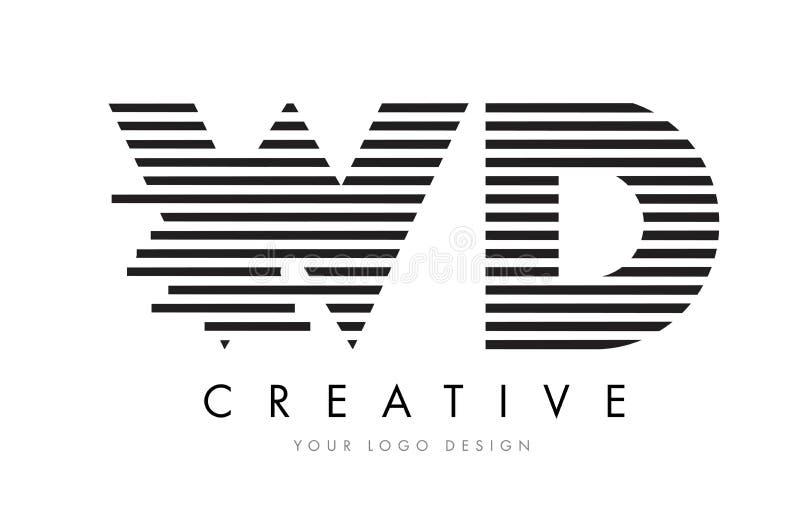 WD W D Zebra Letter Logo Design with Black and White Stripes royalty free illustration