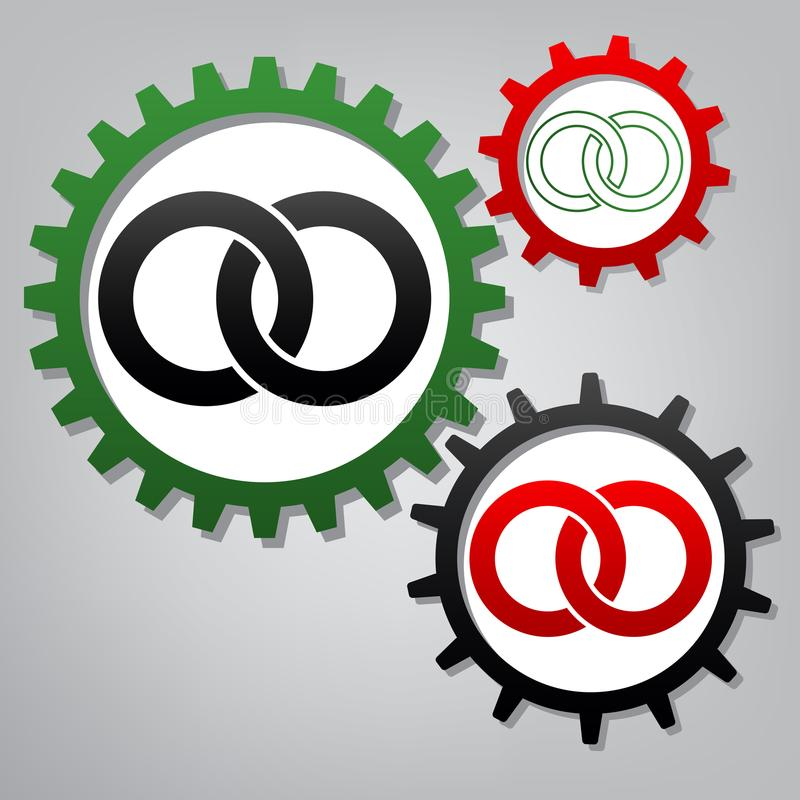 Wdding звенит иллюстрация знака вектор 3 соединенных wi шестерней бесплатная иллюстрация