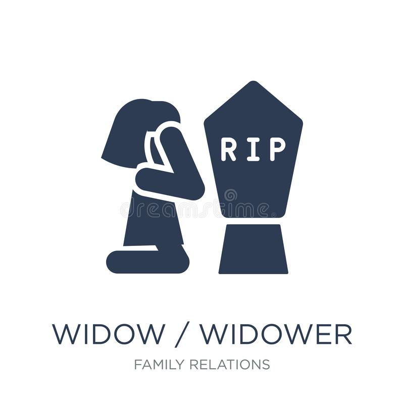 wdowy, wdowa ikona/ Modna płaska wektorowa wdowy, wdowa ikona dalej/ ilustracja wektor