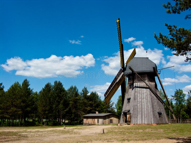 Wdzydze Kiszewskie Oper Air museum, the windmill. The windmill at Wdzydze Kiszewskie open air museum. Popular touristic landmark royalty free stock photography