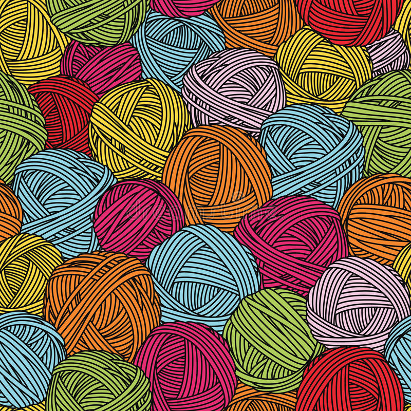 Wełien piłki, przędz skeins bezszwowy wzoru kolorowe tło ilustracji