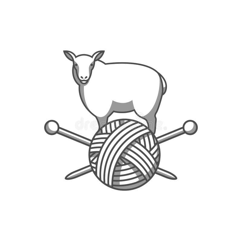 Wełna emblemat z caklami, gmatwanina przędza i dziewiarskie igły, Etykietka dla ręcznie robiony, dziania lub krawczyny sklepu, royalty ilustracja