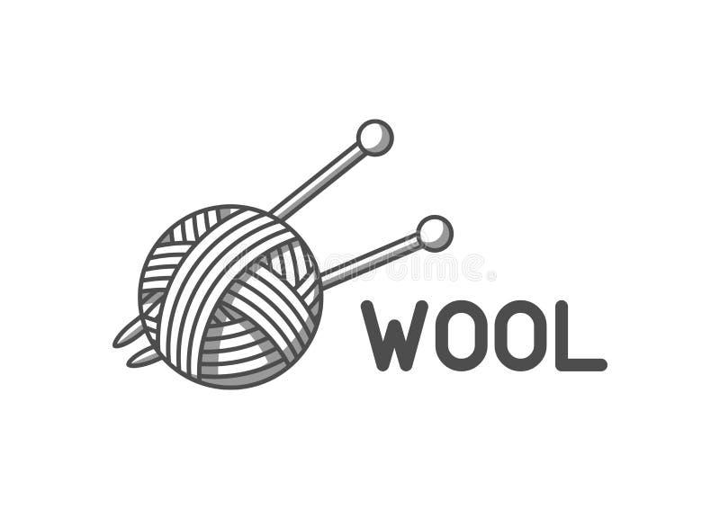Wełna emblemat z z piłką przędza i dziewiarskie igły Etykietka dla ręcznie robiony, dziania lub krawczyny sklepu, royalty ilustracja