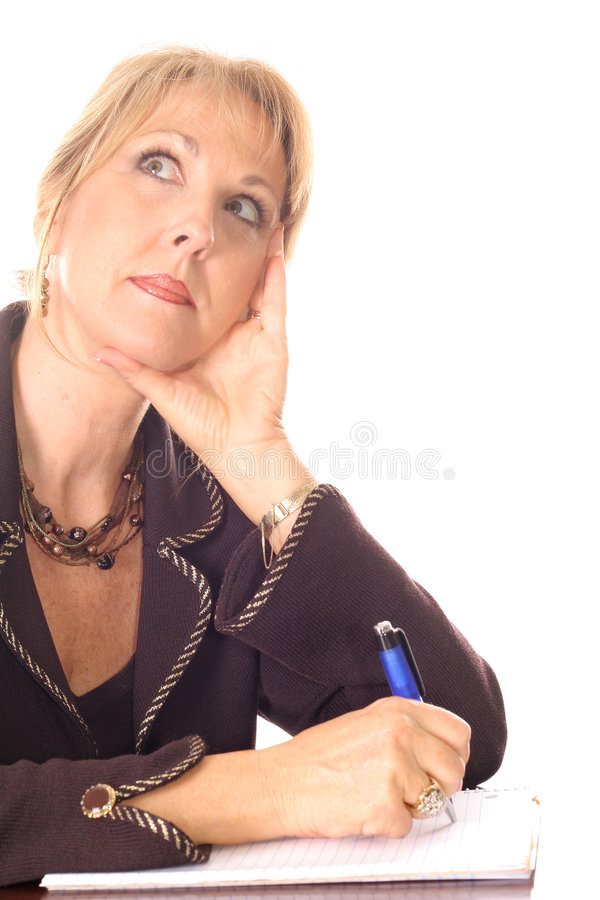 weź notatki myślącej kobiety obrazy stock