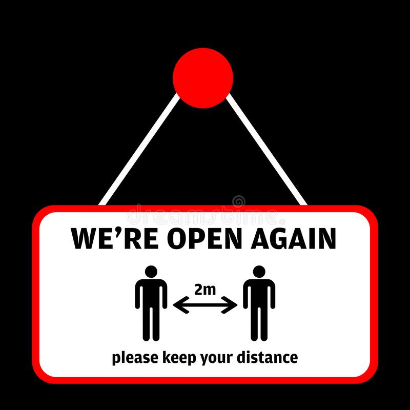 Free We Are Open Again After Vector Illustration Welcoming Customers After Coronavirus Pandemic Lockdown. Back In Business Stock Images - 183305374