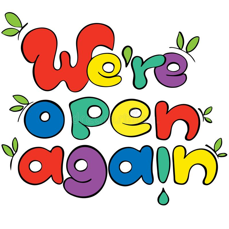 Free We Are Open Again Colorful Sign For Shops And Services Quarantine Time, Welcoming Lettering In Hand Drawn Style With Spring Royalty Free Stock Images - 179920949