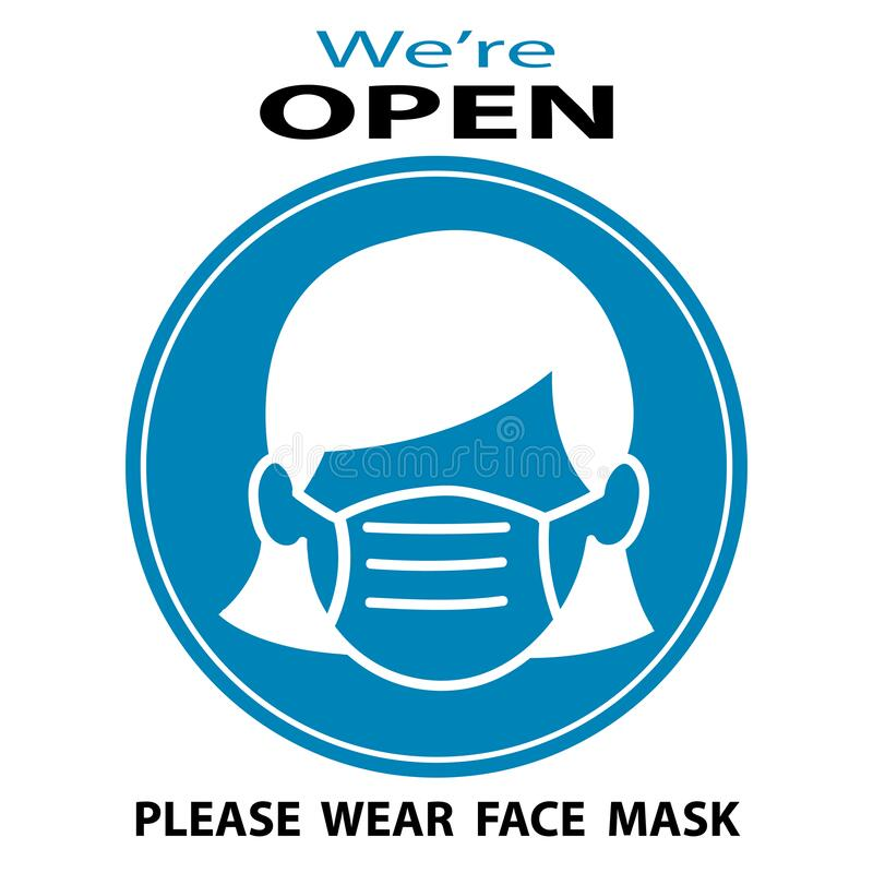 Free We Are Open Please Wear  Face Mask. Vector Illustration Of Small Business Owner Royalty Free Stock Images - 188697419