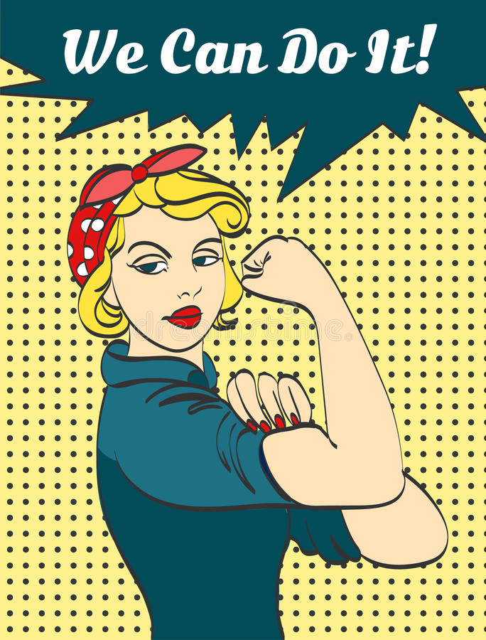 Free We Can Do It. Iconic Woman S Fist Symbol Of Female Power And Industry. Cartoon Woman With Can Do Attitude Royalty Free Stock Photos - 70677228