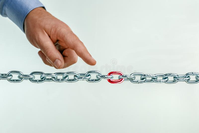 Weak link in the chain, team. Unsafe, vulnerable part of the team, business. Thin spot concept stock image