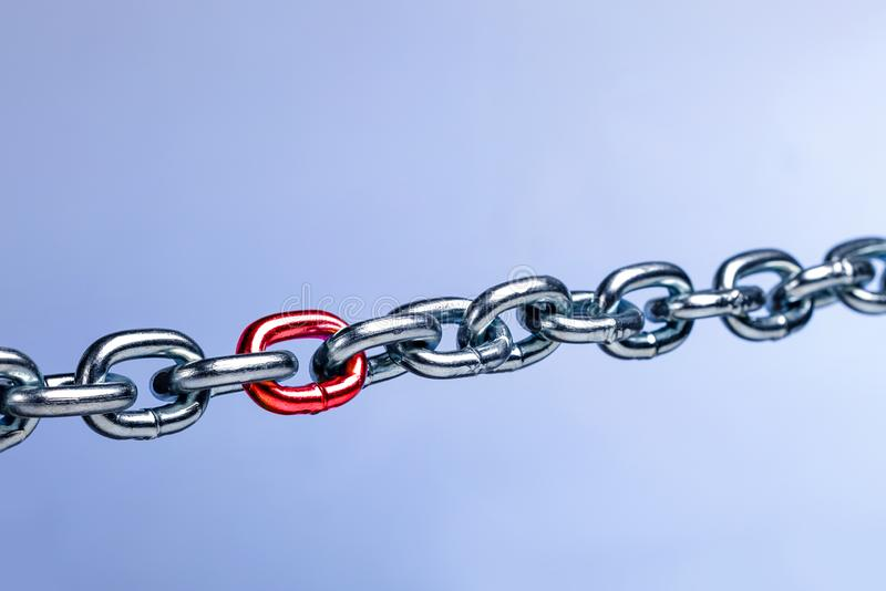 Weak link in the chain, team. Unsafe, vulnerable part of the team, business. Thin spot concept stock images