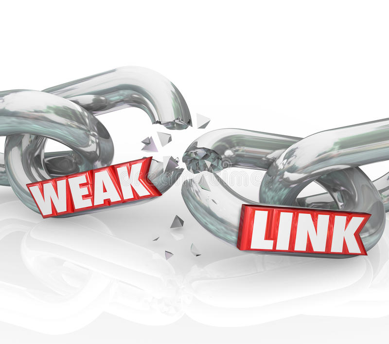 Weak Link Chains Breaking Broken Bad Performance Poor Job. Weak Link words on broken chain links to illustrate a bad or poor performer that leads to failure in royalty free illustration