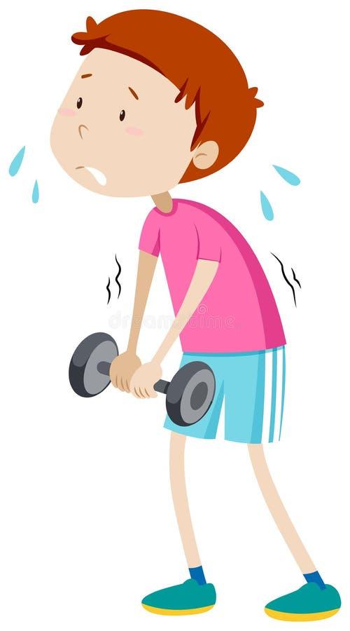 Weak man lifting weight. Illustration vector illustration