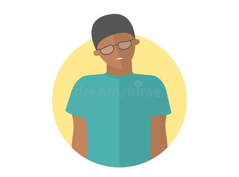 Weak, sad, depressed black boy in glasses. Flat design icon. Handsome man with feeble depression emotion. Simply editable. On white vector sign stock illustration