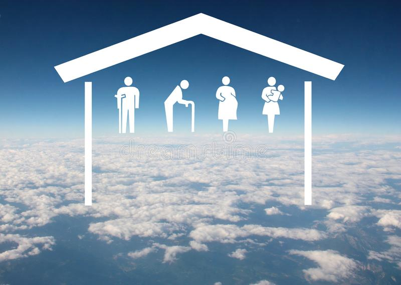 Weak social categories welfare concept with house and rooftop on aerial sky view background royalty free stock photography