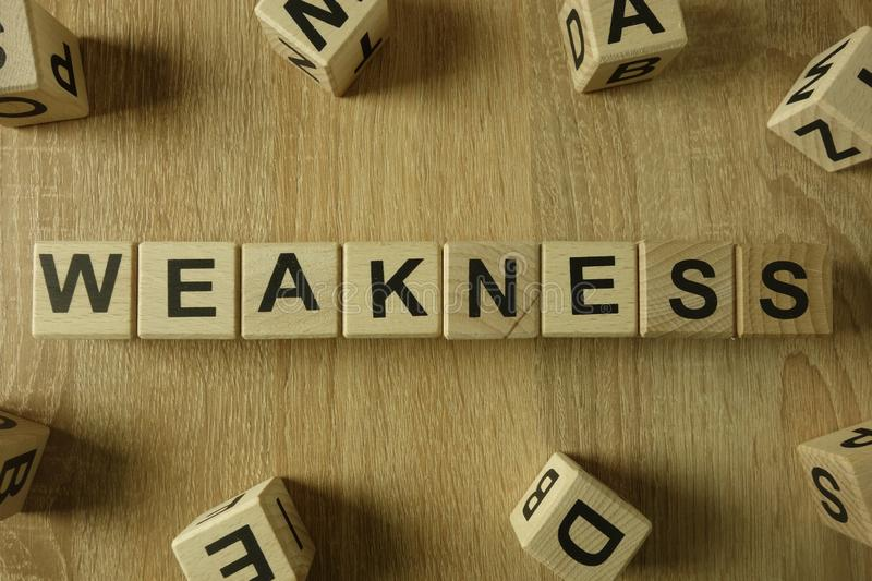 Weakness word from wooden blocks royalty free stock photography