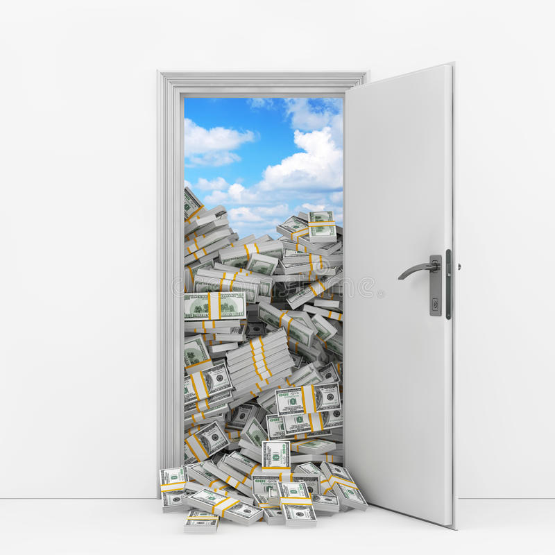 Wealth Concept. Opening Door with Heap of Dollar Bills. 3d Rendering. Wealth Concept. Opening Door with Heap of Dollar Bills extreme closeup. 3d Rendering royalty free illustration