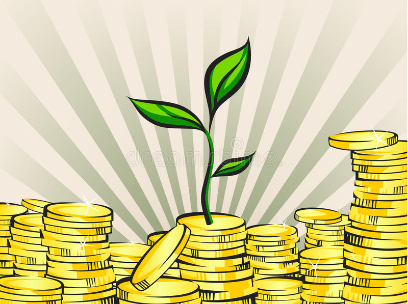 Wealth growing concept, money tree with coins stacks, vector illustration.  vector illustration