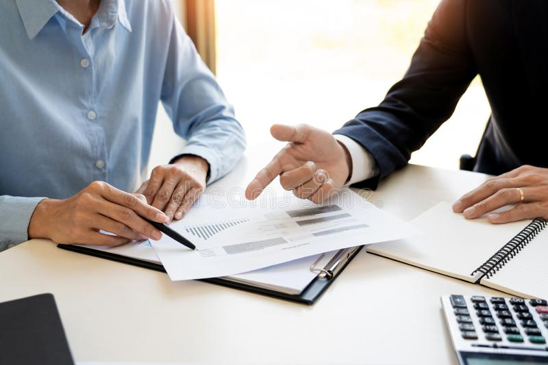 Wealth management concept, business man and team analyzing financial statement for planning financial customer case in office.  royalty free stock images