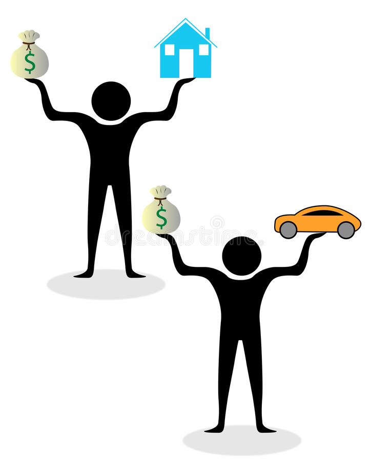 Wealth and money balance. Money and wealth balance in life stock illustration