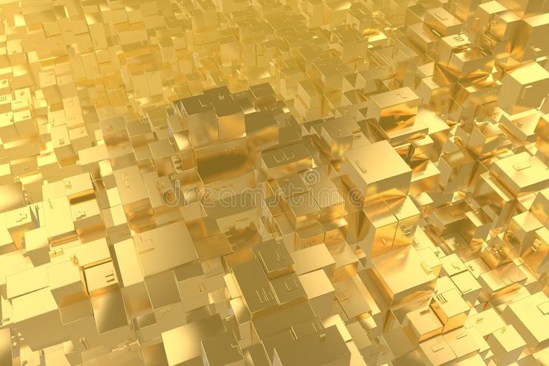 Wealth rich concept idea Golden city at sunset rays Abstract space background.3D illustration rendering.  stock photo