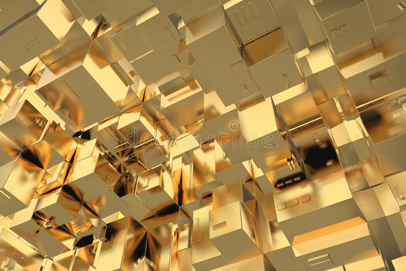 Wealth rich concept idea Golden city at sunset rays Abstract space background.3D illustration rendering.  royalty free stock photography