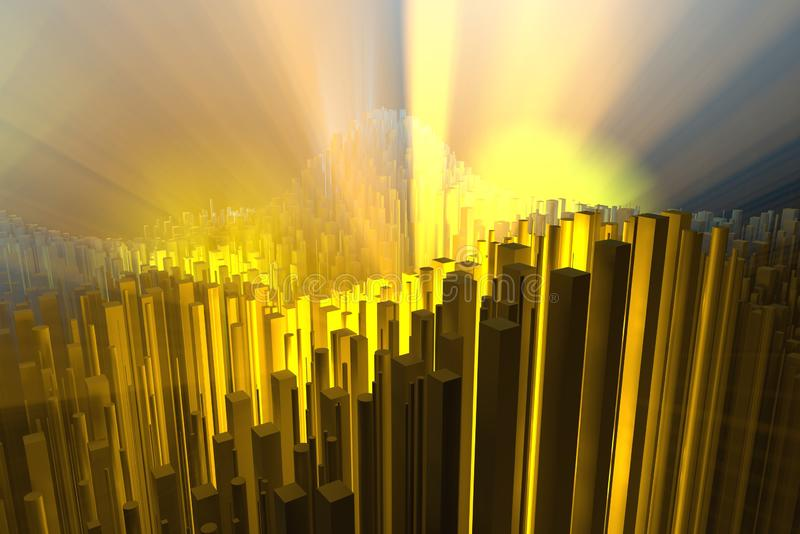 Wealth rich concept idea white city towers at sunset rays Abstract space background.3D illustration rendering.  stock photography
