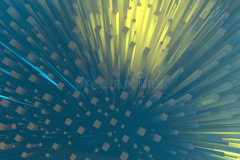 Wealth rich concept idea white city towers at sunset rays Abstract space background.3D illustration rendering.  royalty free stock images